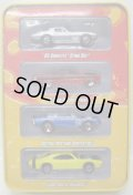 SINCE'68 MUSCLE CARS 4CAR TIN PACK 【'64 CORVETTE STING RAY, '64 FORD FALCON SPRINT, CUSTOM MUSTANG CONVERTIBLE, LARGE AND IN CHARGER】