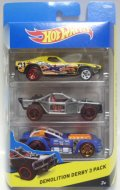 2015 HOT WHEELS 3PACK 【DEMOLITION DERBY】 Dixie Challenger / Roll Cage / Piledriver