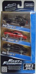 JADA 1/55 FAST & FURIOUS 【DOM'S RIDES 3 PACK】 DODGE CHARGER R/T OFF-ROAD/CHEVY CHEVELLE SS/DODGE CHARGER R/T