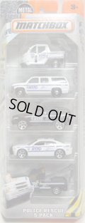 2016 MATCHBOX 5PACK  【POLICE RESCUE】Meter Made/Chevy Suburban/Sport SUV/Dodge Charger Pursuit/GMC Wrecker