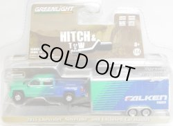 画像1: 2017 GREENLIGHT - HITCH & TOW S11 【2015 CHEVROLET SILVERADO AND ENCLOSED CAR HAULER (FALKEN)】 GREEN-BLUE/RR