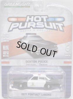 画像1: 2018 GREENLIGHT HOT PURSUIT S28 【1977 PONTIAC LEMANS】 BLACK-WHITE/RR (DENTON POLICE)