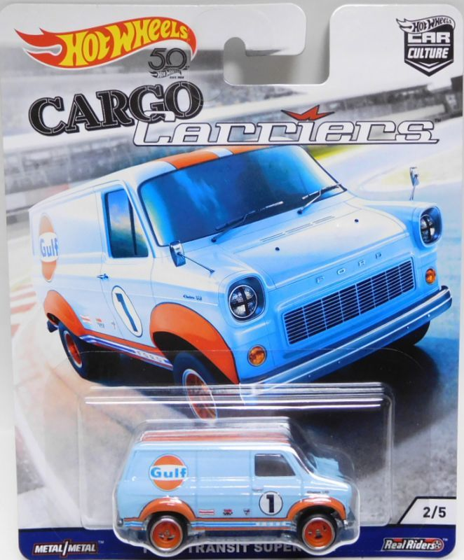 Hot Wheels Cargo Carriers 1:64 RR Ford Transit Super van Gulf racing